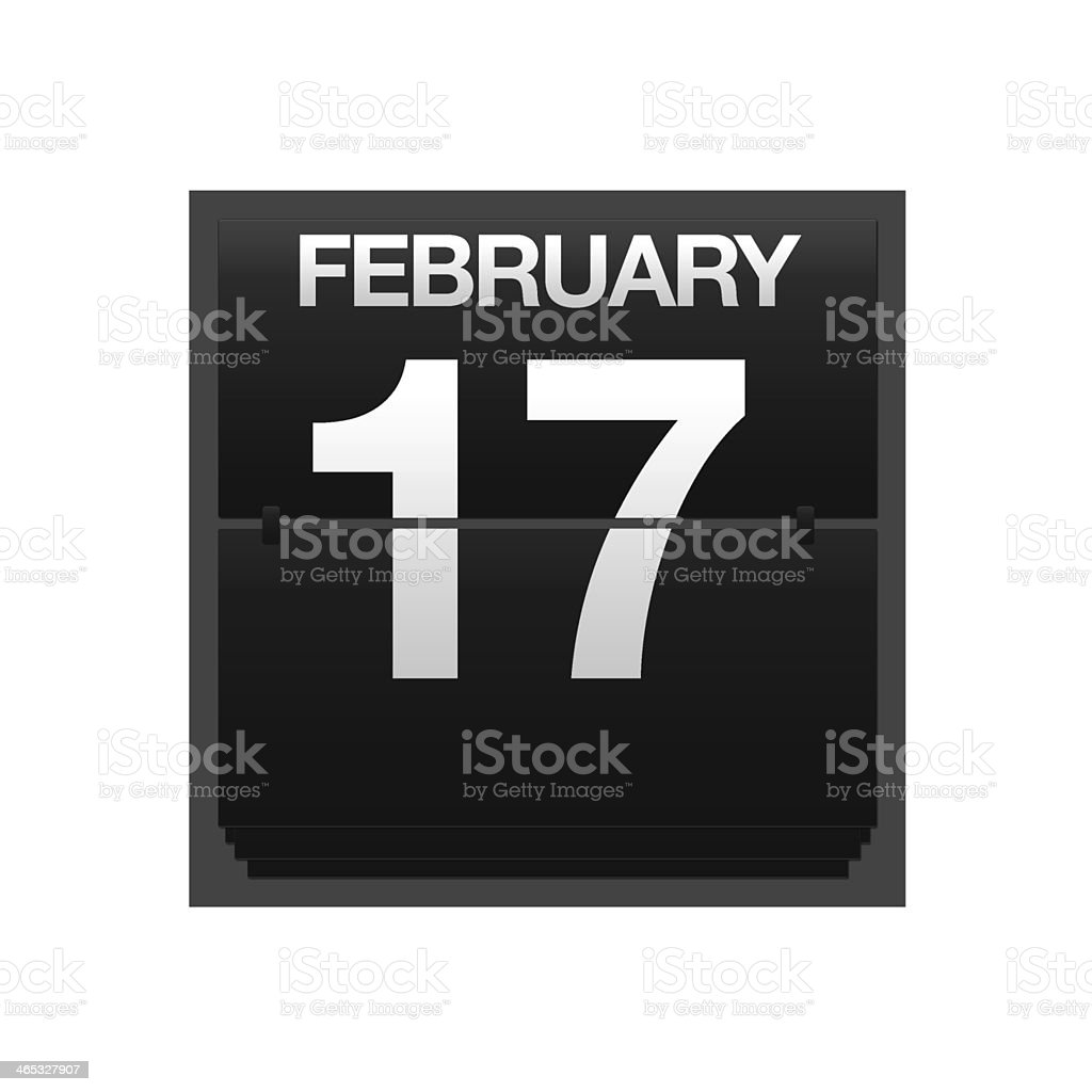 Counter calendar february 17. stock photo