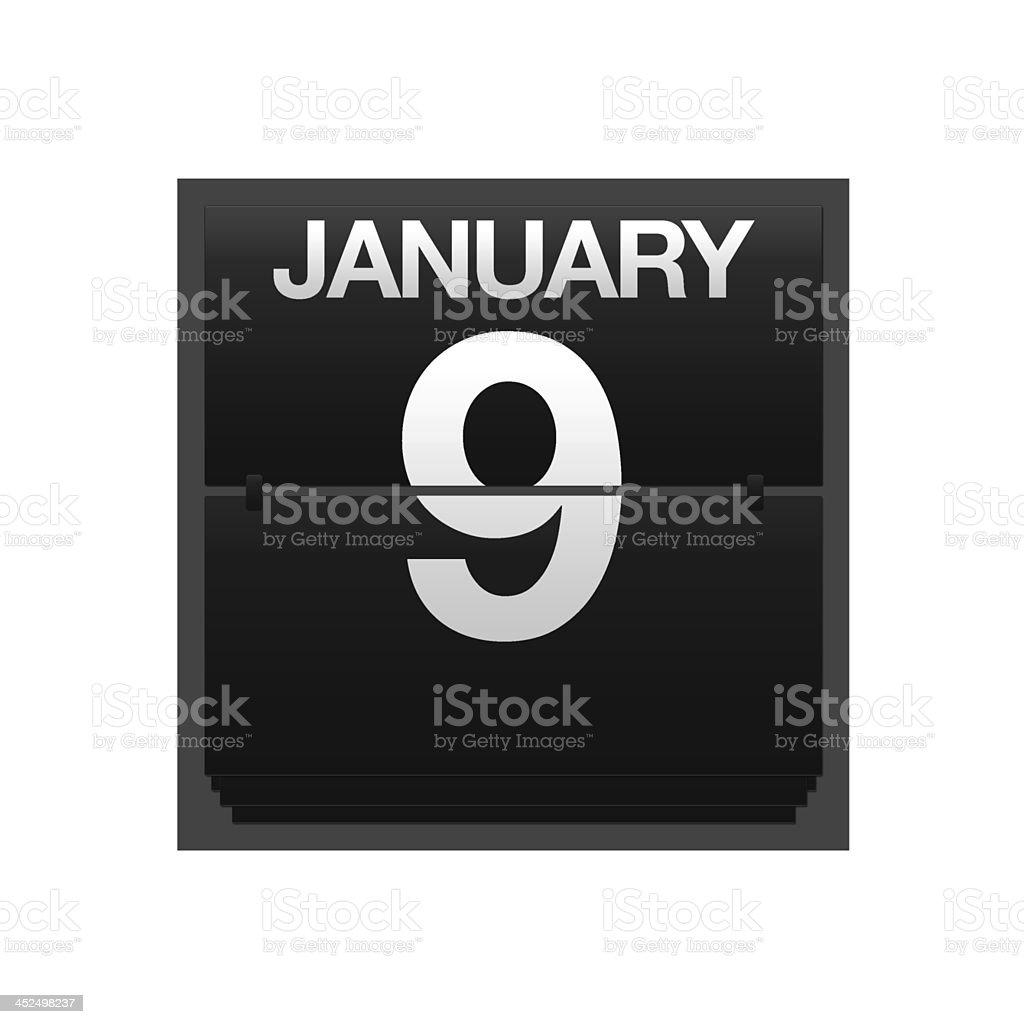 Counter calendar January 9. stock photo