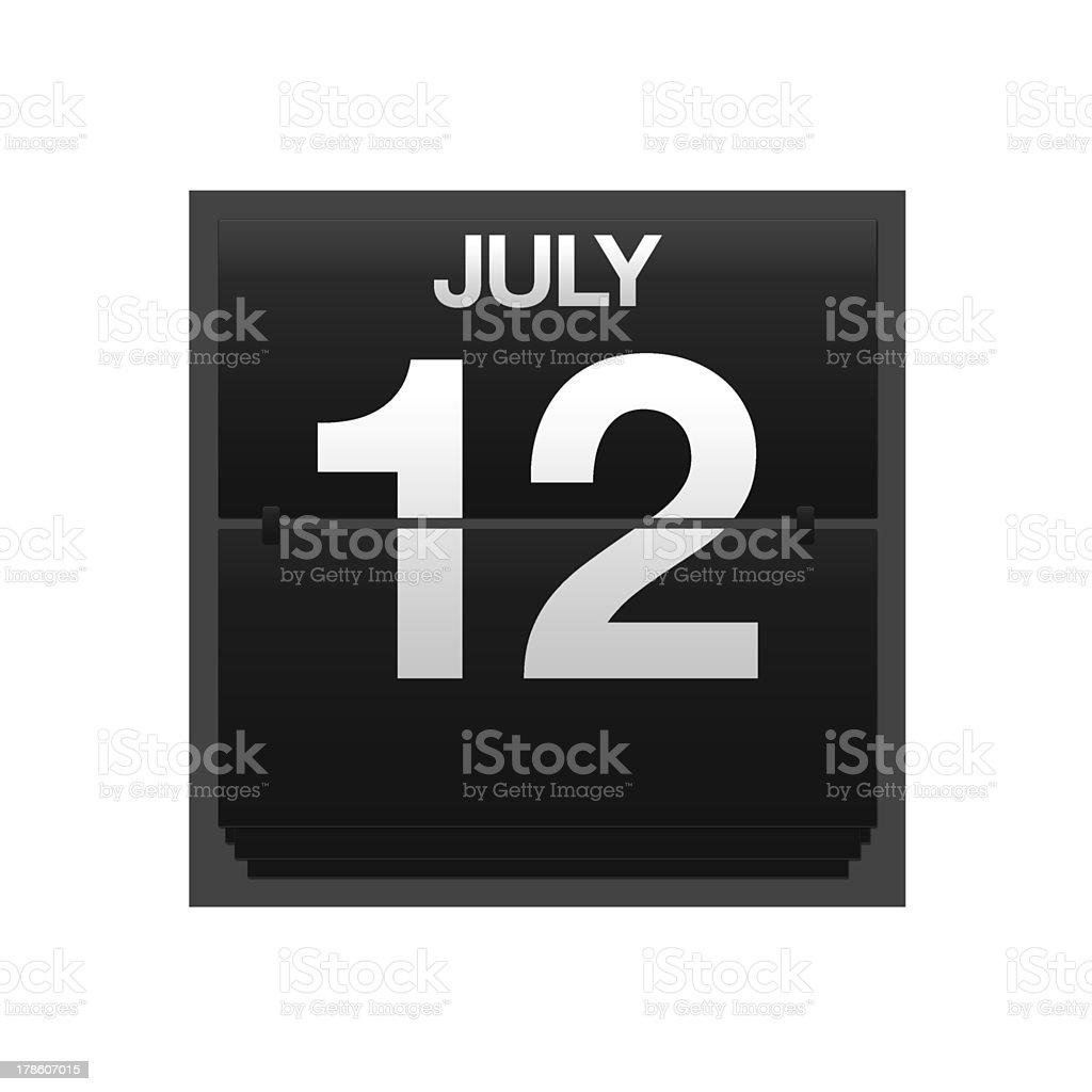 Counter calendar july 12. stock photo