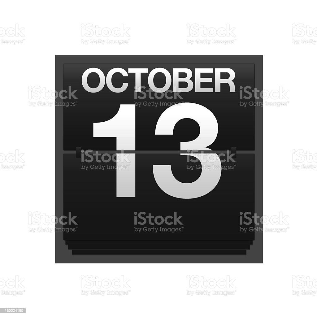 Counter calendar October 13. royalty-free stock photo