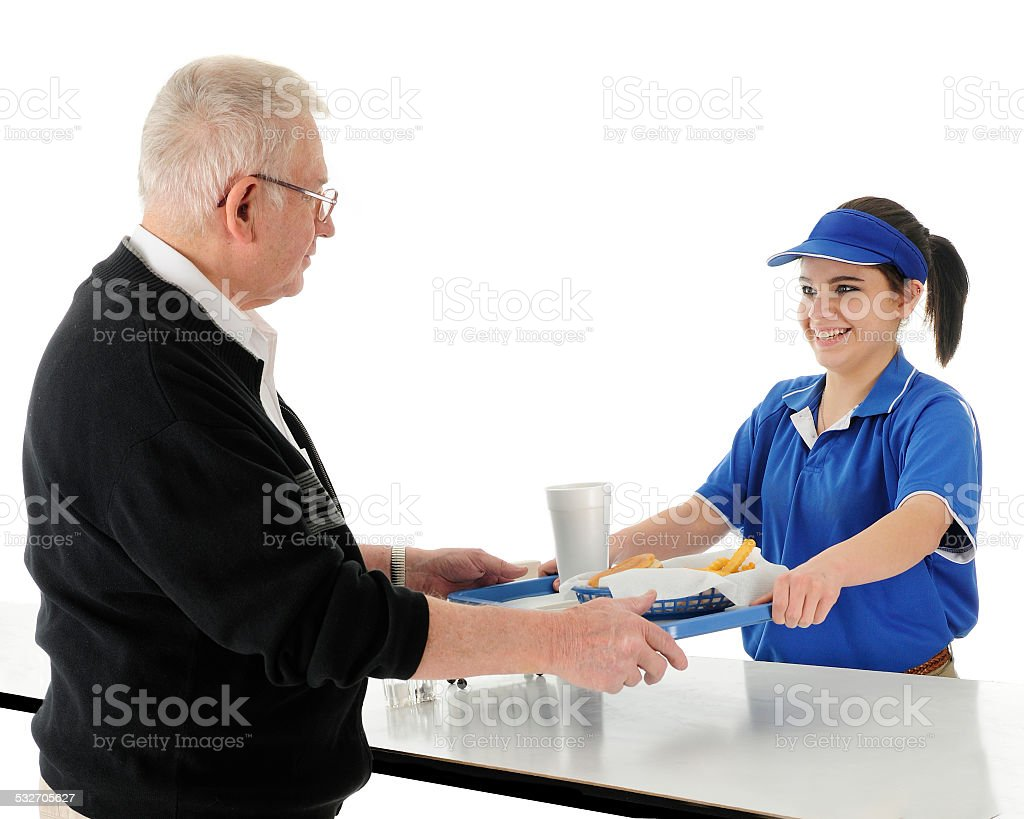 Counter Girl Serving stock photo