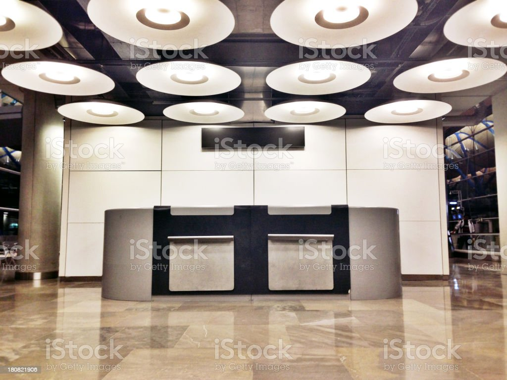 Counter in Madrid Airport stock photo