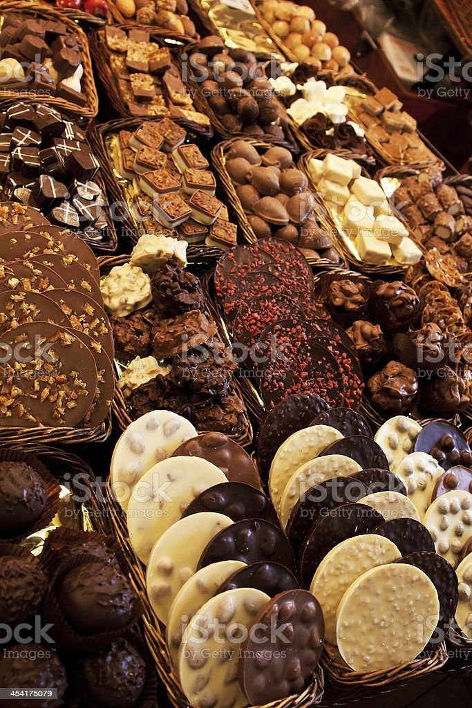 Counter market with sweets royalty-free stock photo