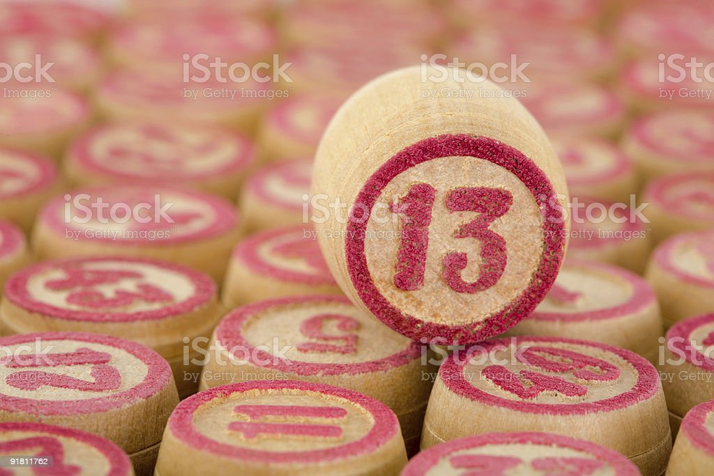 Counter of a bingo with number thirteen stock photo