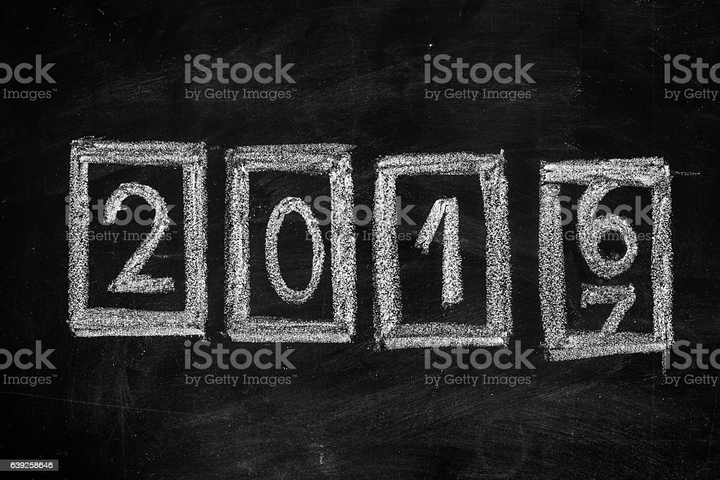 Counter on blackboard showing New Year 2017 stock photo