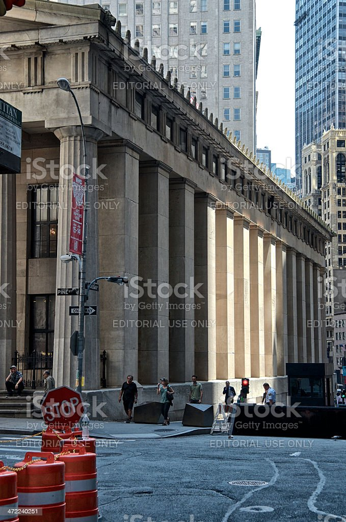 Counter Terror Barrier, People, Manhattan Financial District, New York City royalty-free stock photo