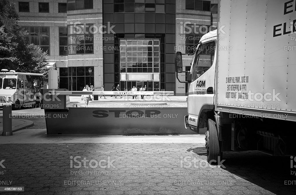Counter Terror Barrier, Truck, Manhattan Financial District, New York City royalty-free stock photo