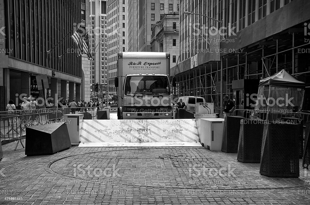 Counter Terror barrier, truck, Manhattan Financial District New York City royalty-free stock photo