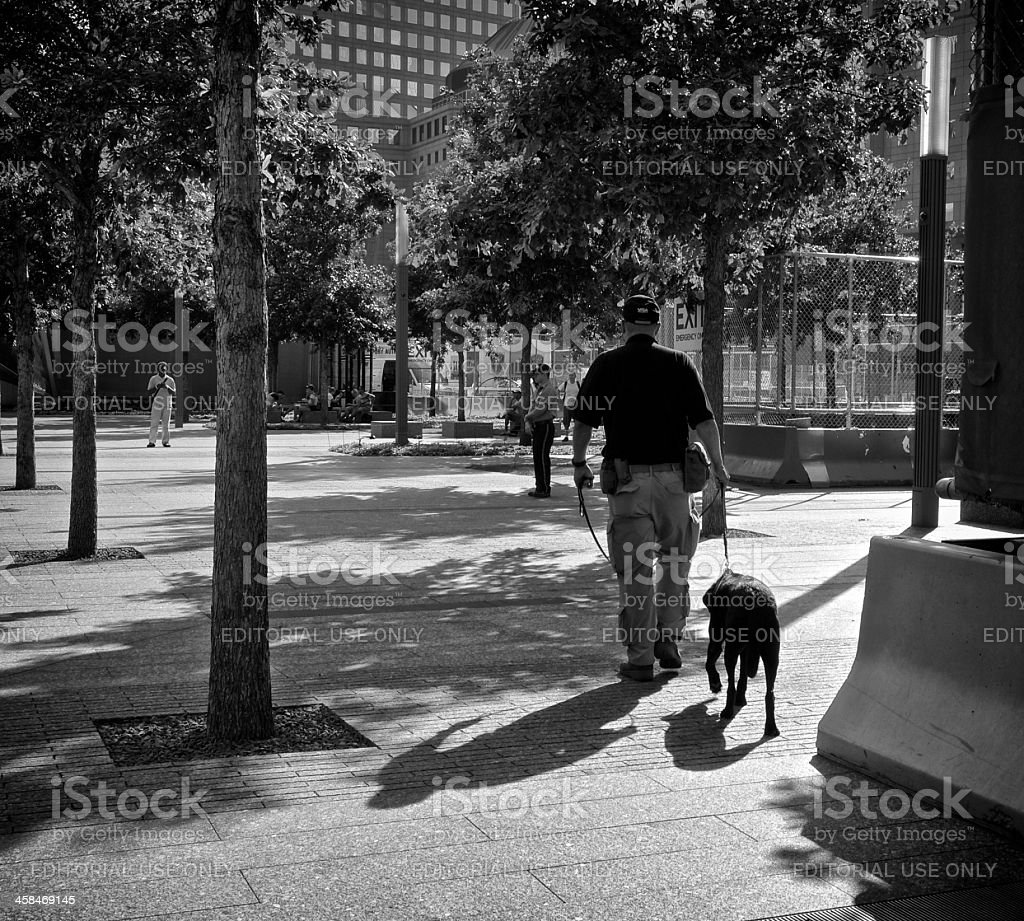 Counter Terror Bomb sniffing dog and handler, Ground Zero, NYC royalty-free stock photo