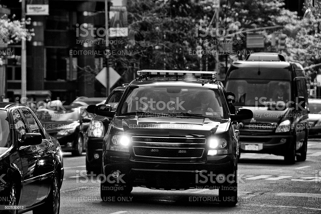 Counter Terror Security Officers during United Nations Assembly events, NYC stock photo
