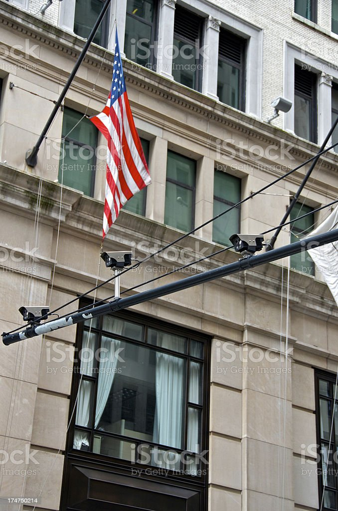 Counter terror surveillance license plate readers above Broadway, Lower Manhattan stock photo