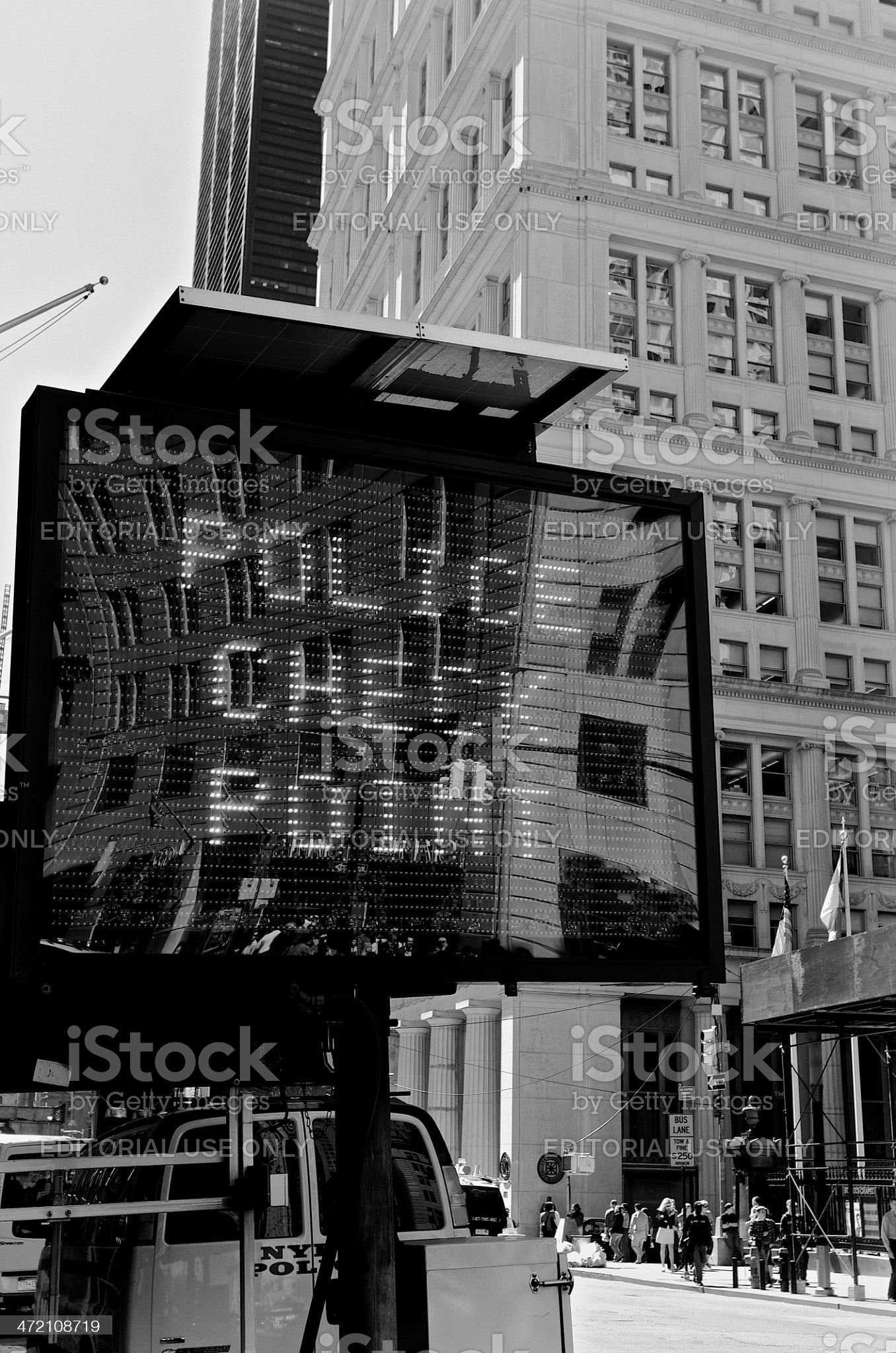 NYPD  Counter Terror vehicle checkpoint, Lower Manhattan, NYC royalty-free stock photo