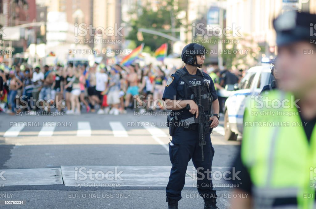 Counter Terrorism Police Gay Pride Parade New York City stock photo