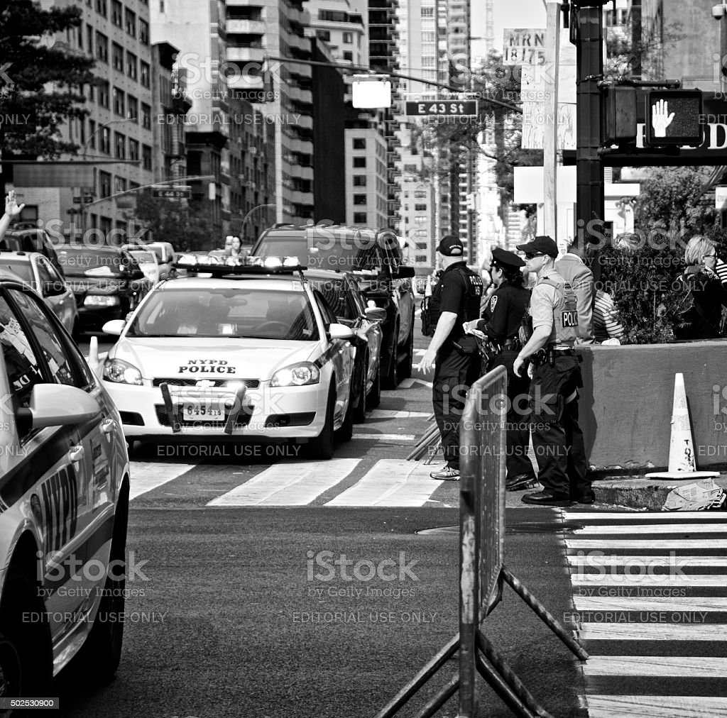 Counter Terrorism Security Vehicle Checkpoint, 42nd Street, New York City stock photo