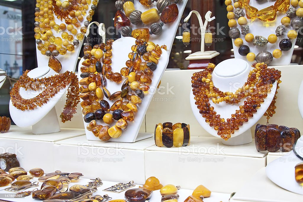counter with amber jewelry stock photo