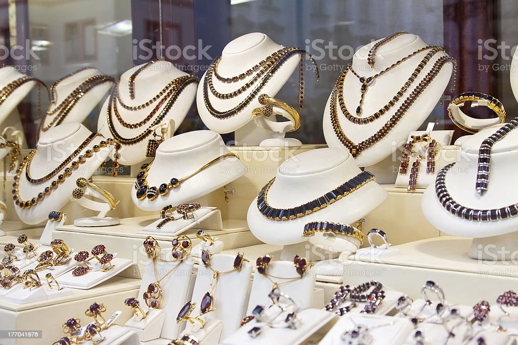 counter with jewelry royalty-free stock photo