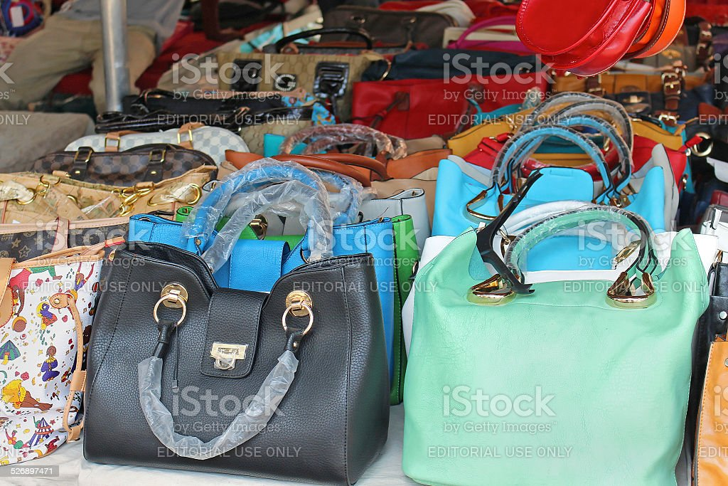 Counterfeit bags stock photo