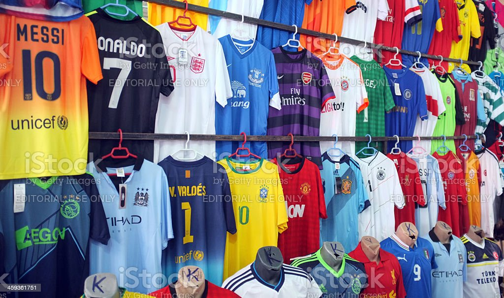 Counterfeit football kits royalty-free stock photo