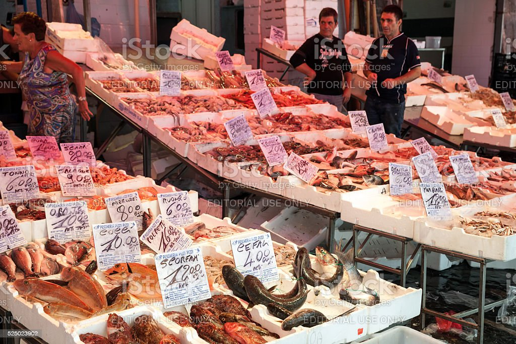 Counters with fish of street marketplace in Naples stock photo