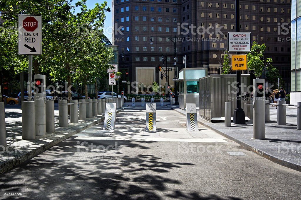 NYPD Counter-Terrorism Barrier, ONE World Trade Center, New York City stock photo