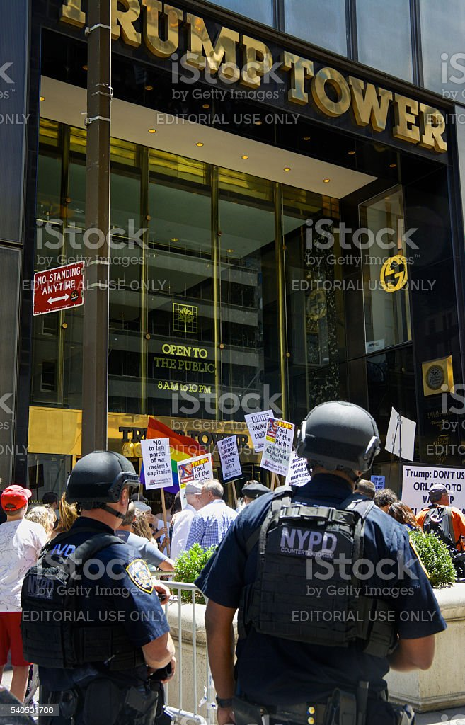 NYPD Counter-Terrorism Officers Watch Protesters, Trump Tower, Midtown Manhattan, NYC stock photo