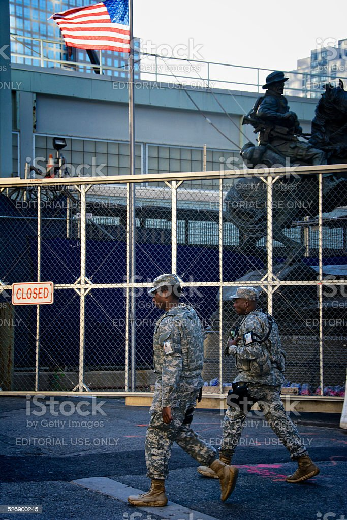 Counter-Terrorism Vigilance, New York City, National Guard Soldiers, Lower Manhattan stock photo