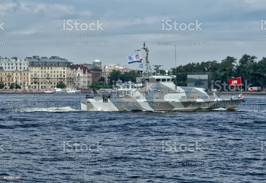 Counter-terrorist cutter Grachonok. The Naval Parade in St. Petersburg stock photo