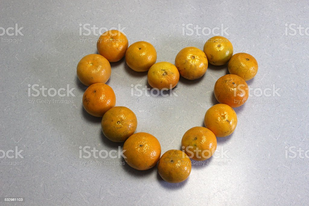 Countertop Heart made with Oranges stock photo