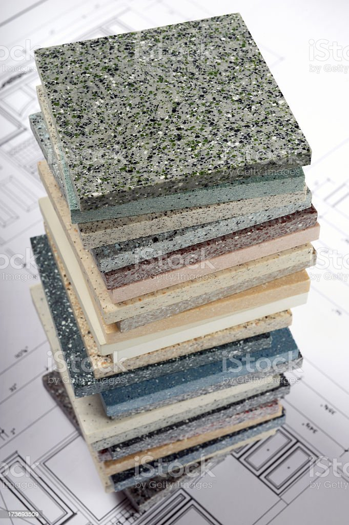 Countertop Samples on Blueprint royalty-free stock photo