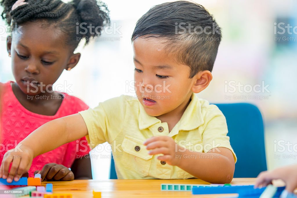 Counting Blocks in Class stock photo
