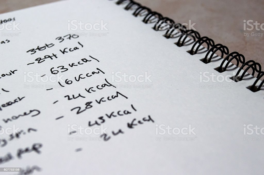 Counting Calories in a Notebook royalty-free stock photo