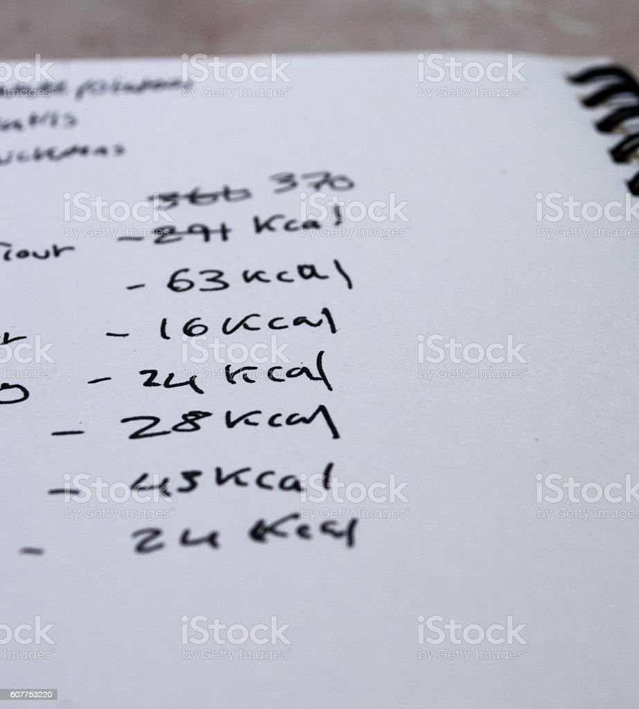 Counting Calories on Some Paper royalty-free stock photo