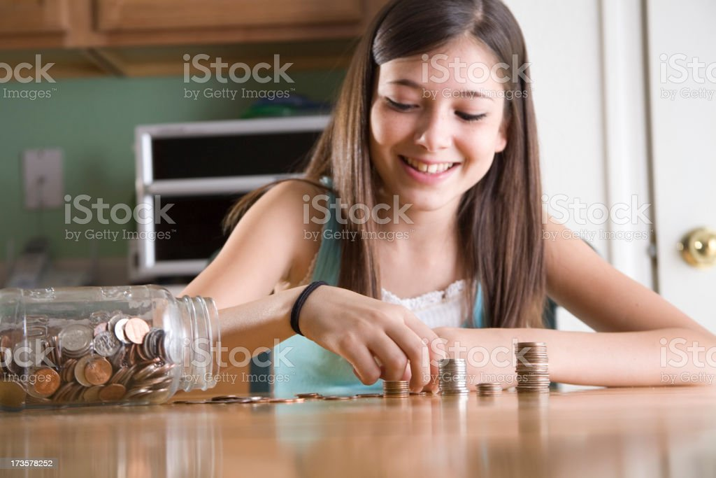 Counting Change stock photo