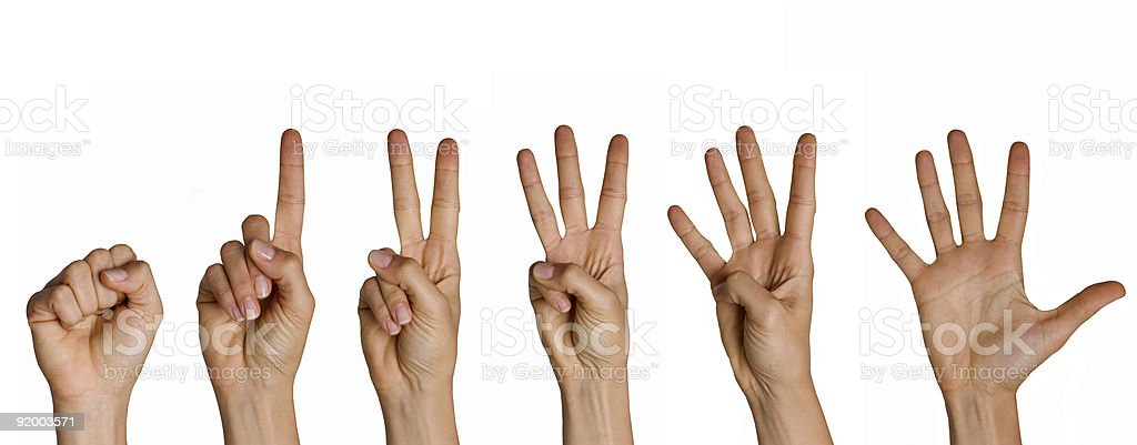 Counting Fingers from zero to five stock photo