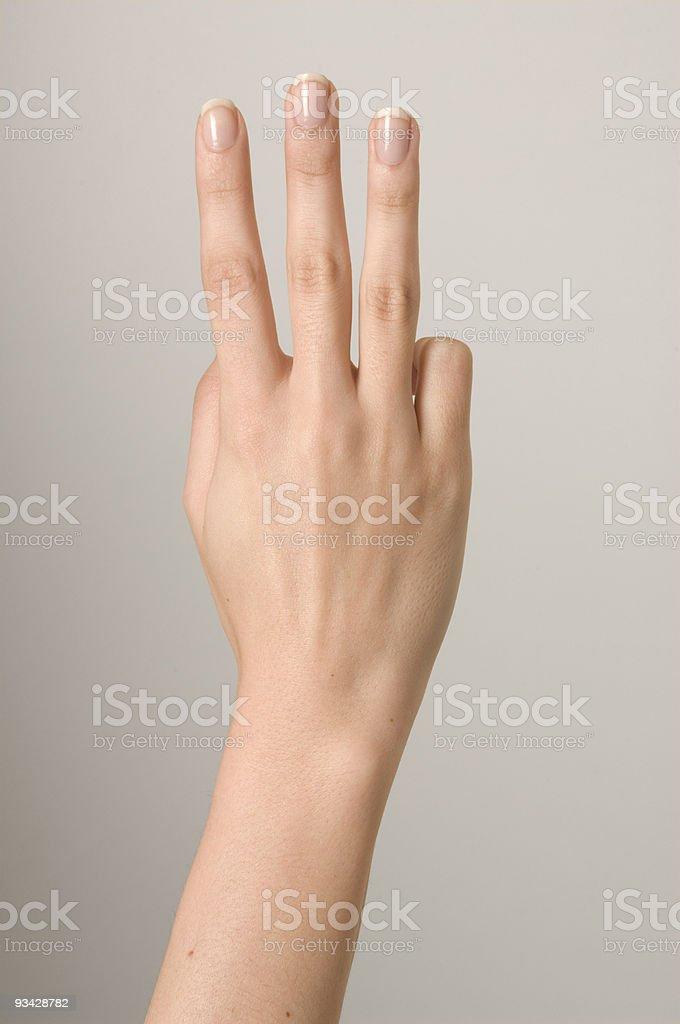 Counting Hand Three stock photo