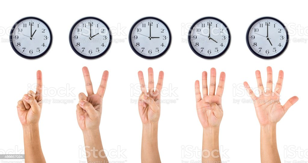Counting Hands and Clocks stock photo