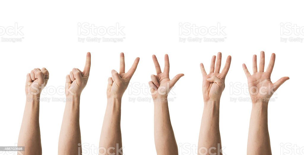 counting hands from zero to five stock photo