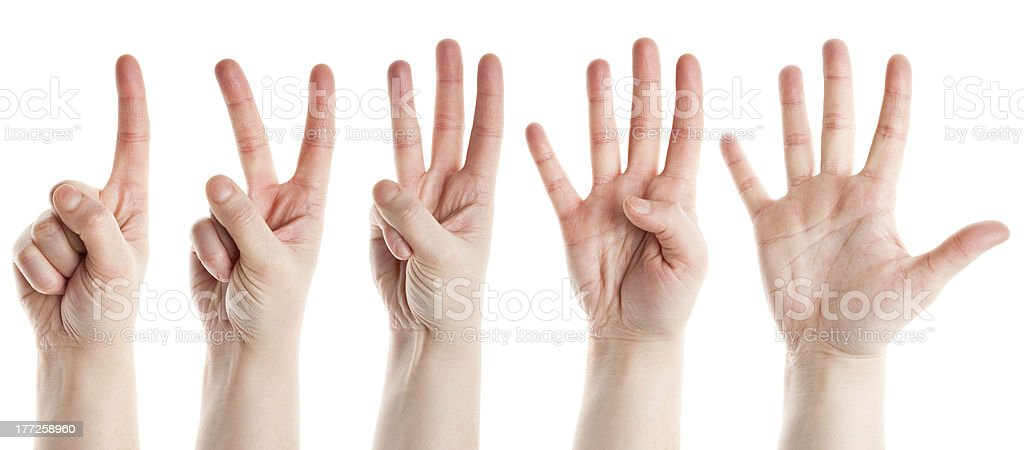 Counting hands stock photo