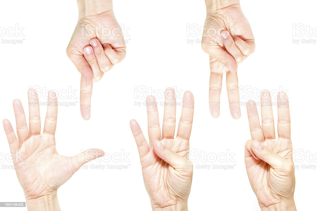 Counting hands (one to five) royalty-free stock photo