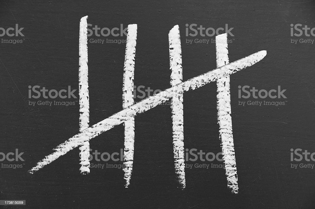 Counting lines written in chalk on blackboard stock photo