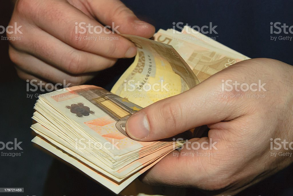 Counting money (Euro) royalty-free stock photo