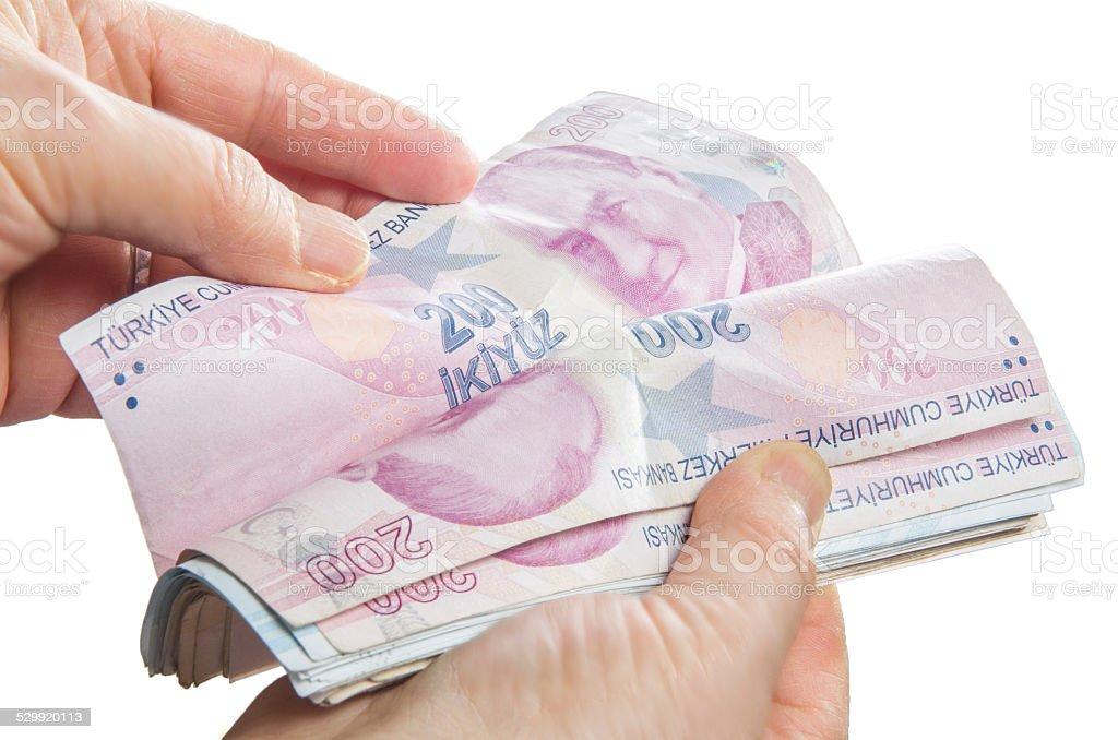 counting Money - Turkish lira stock photo