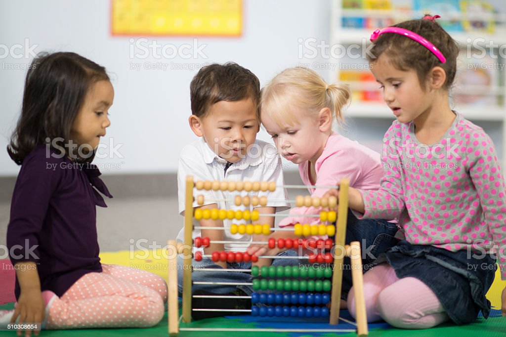Counting on an Abacus stock photo