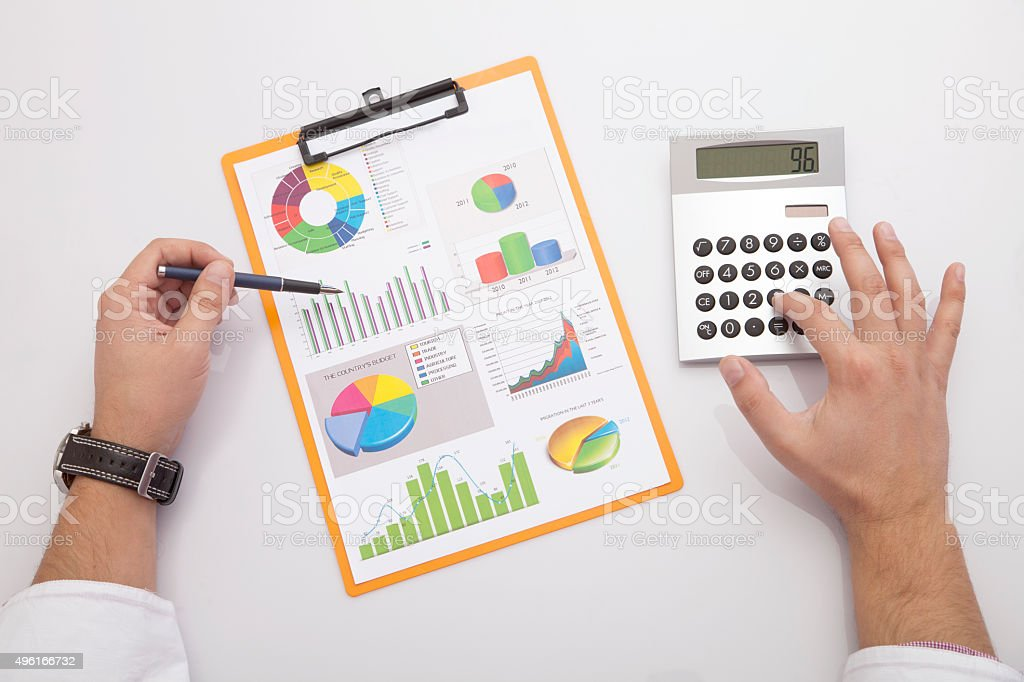 counting on the desk stock photo