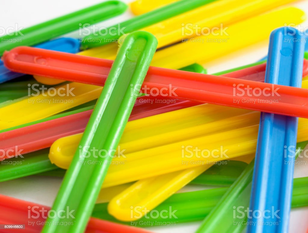 Counting sticks. Selective focus. stock photo