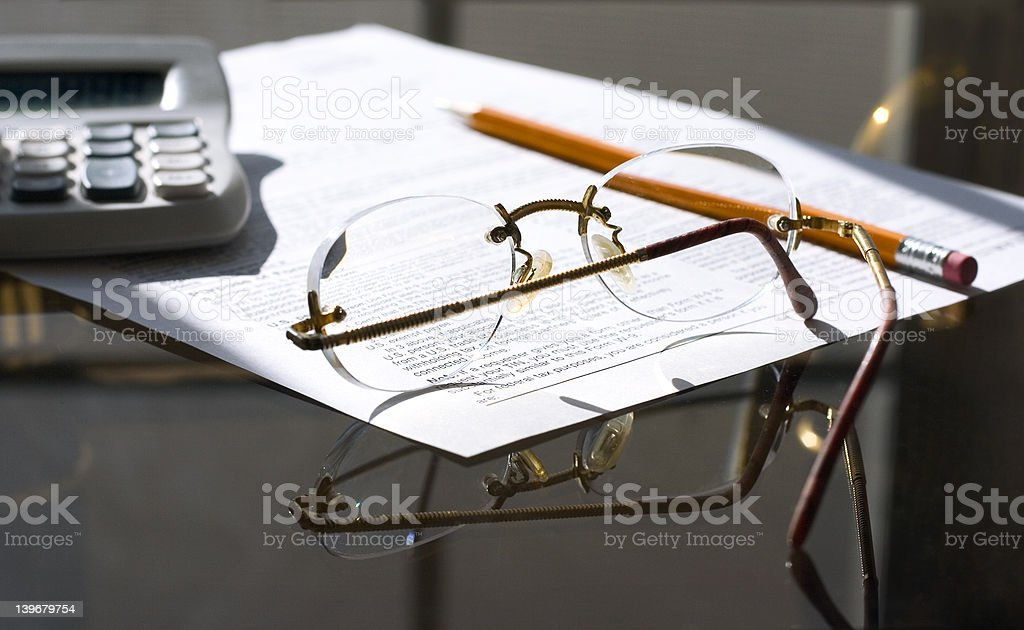 counting taxes ( morning) stock photo
