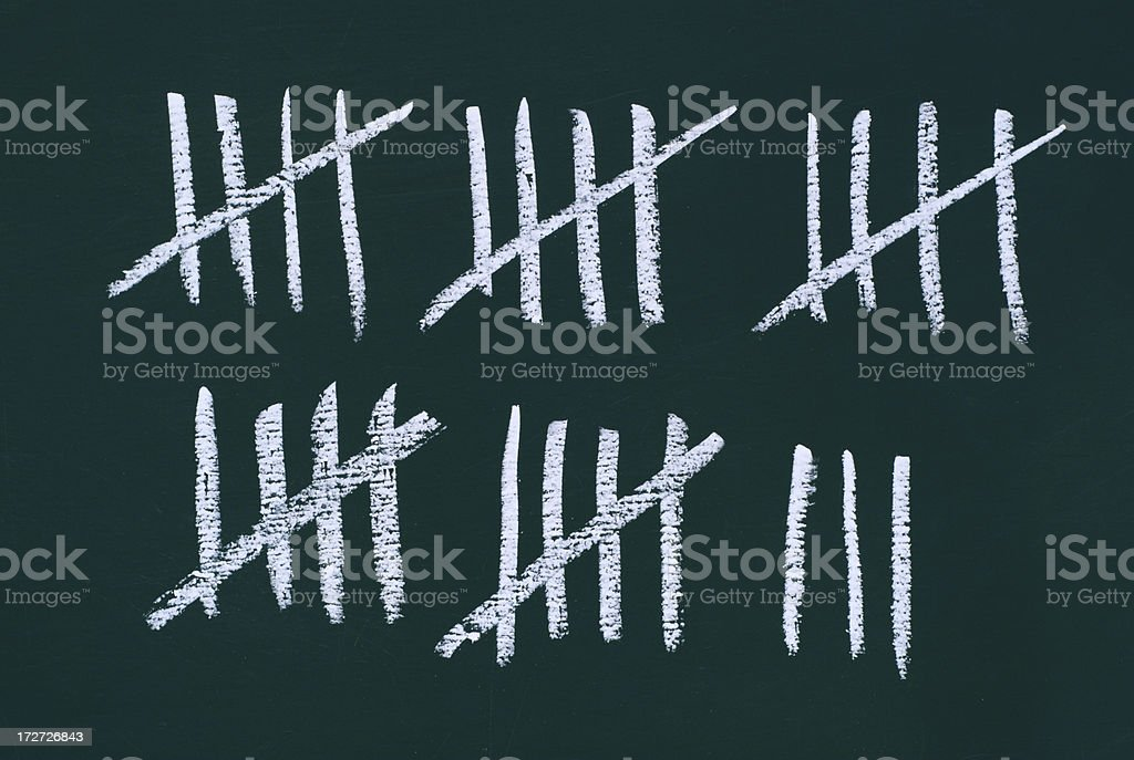 counting the days - stripes on a blackboard stock photo