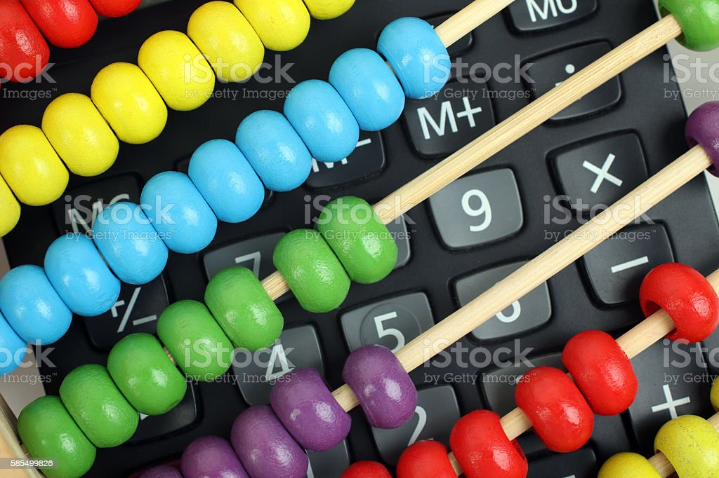 Counting with different equipments stock photo