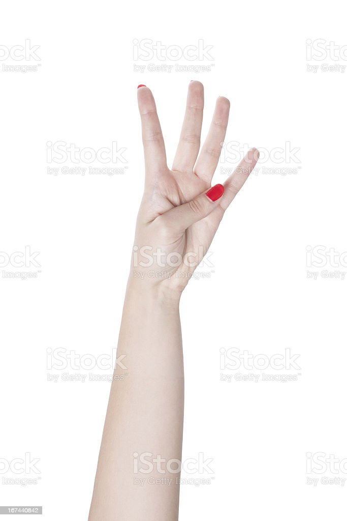 counting with hand signals. royalty-free stock photo
