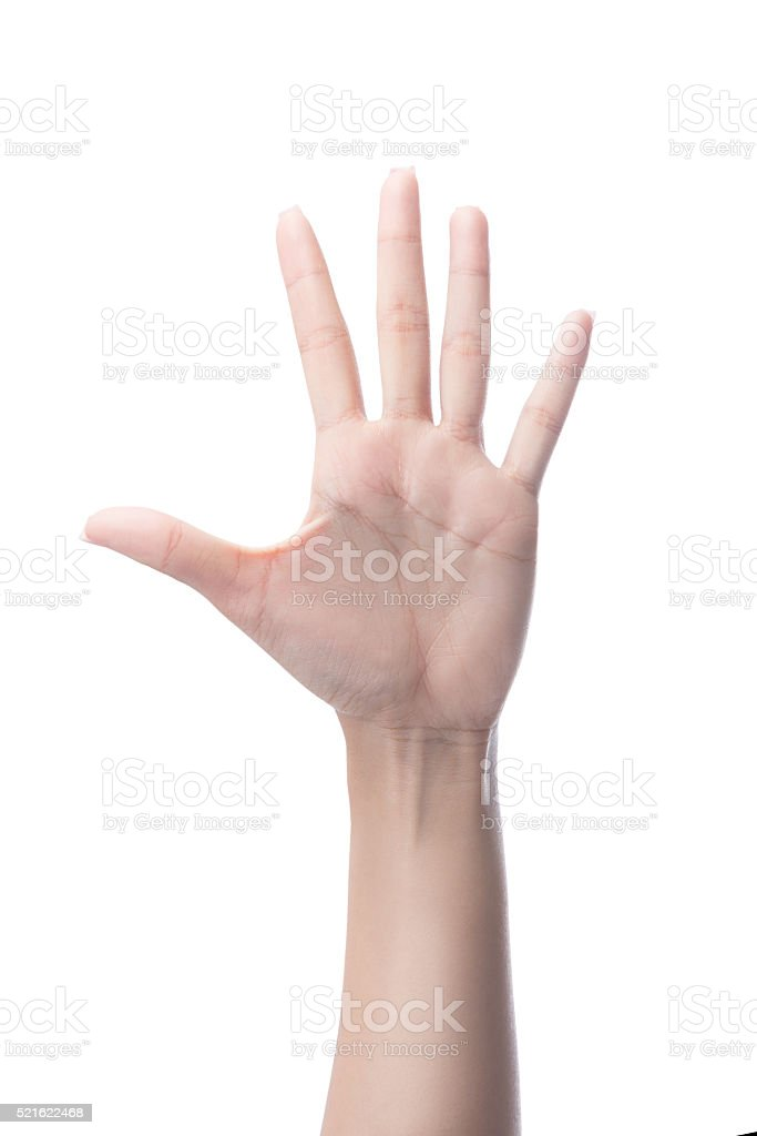 Counting woman hands five, number 5 stock photo